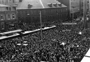 Dailes teātra ēkas Rīgā Brīvības ielā 75 (toreiz Ļeņina ielā) atklāšana 1977. gada 30. oktobrī. Dailes teātra arhīvs
